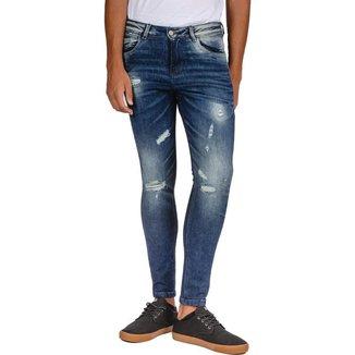 Calça Jeans Rock&Soda Masculina Skinny Destroyed Conforto