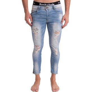 Calça Jeans Rock&Soda Masculina Skinny Destroyed Dia a Dia