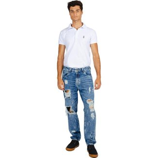 Calça Jeans Rock&Soda Masculina Skinny Relaxed Destroyed