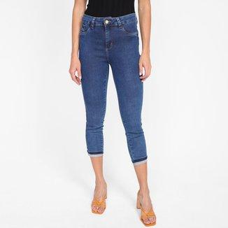 Calça Jeans Sawary Cropped Barra Dobrada Feminina