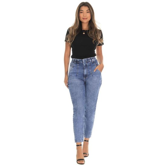 Calça Jeans Sawary Mom Feminina - Azul