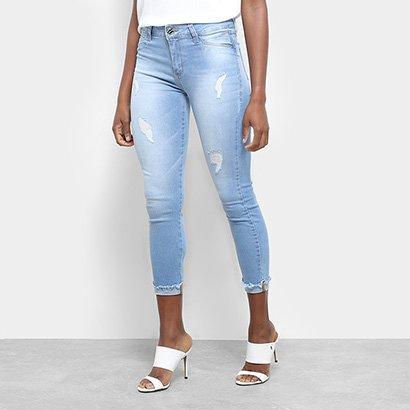 Calça Jeans Sawary Skinny Croped Rasgos Barra Dobrada Feminina