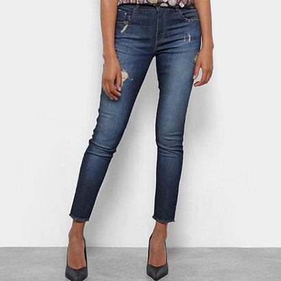 Calça Jeans Skinny Acostamento Cintura Média Feminina-Feminino