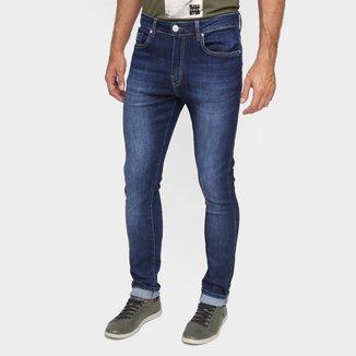 Calça Jeans Skinny Acostamento Cintura Média Masculina