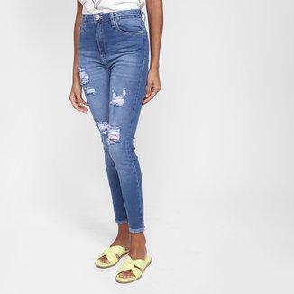 Calça Jeans Skinny All Is Love Rasgos Cintura Média Feminina