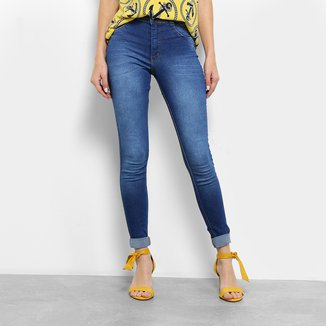 Calça Jeans Skinny Biotipo Estonada Barra Dobrada Cintura Média Feminina