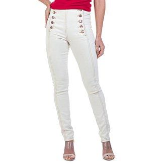 Calça Jeans Skinny Botões Laterais Feminino