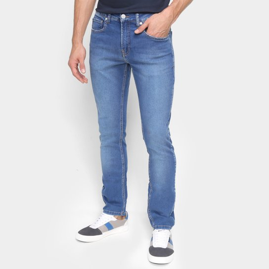 Calça Jeans Skinny Calvin Klein Cintura Média Masculina - Azul