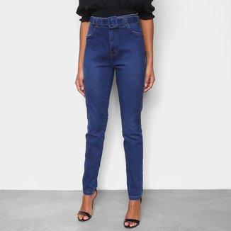 Calça Jeans Skinny Cambos Com Cinto Cintura Alta Feminina