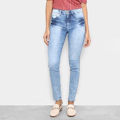 Calça Jeans Skinny Chocomenta Estonada Cintura Média Feminina-Feminino