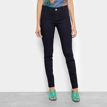 Calça Jeans Skinny Chocomenta Lisa Cintura Média Feminina-Feminino