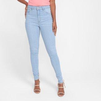 Calça Jeans Skinny Cintura Alta Elastano Feminina