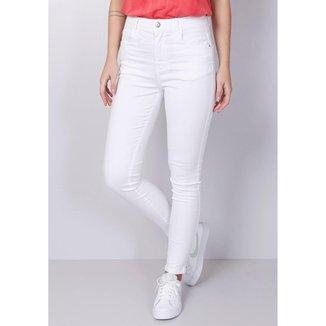 Calça Jeans Skinny Cintura Média Branca Gang Feminina