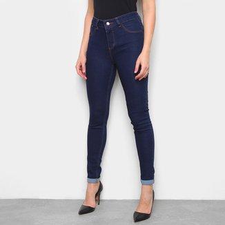 Calça Jeans Skinny Coffee Barra Dobrada Cintura Média Feminina