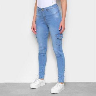 Calça Jeans Skinny Coffee Cargo Estonada Cintura Média Feminina