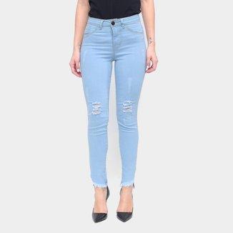 Calça Jeans Skinny Coffee Desfiada Feminina