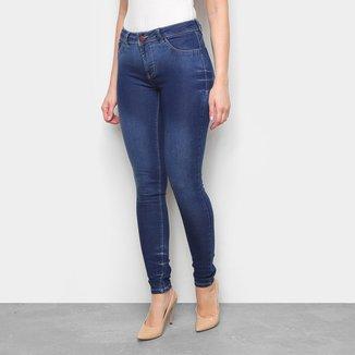 Calça Jeans Skinny Coffee Estonada Cintura Baixa Feminina