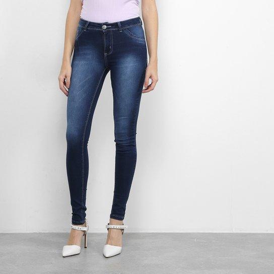 Calça Jeans Skinny Coffee Estonada Feminina - Azul