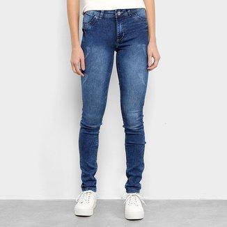 Calça Jeans Skinny Coffee Estonada Feminina