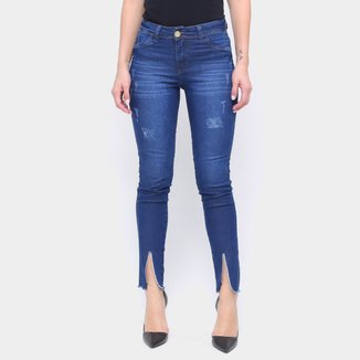 Calça Jeans Skinny Coffee Fenda Na Barra Feminina