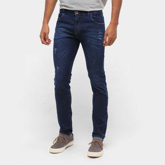 Calça Jeans Skinny Coffee Puídos Masculina