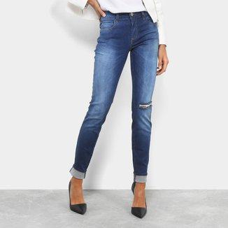 Calça Jeans Skinny Colcci Estonada Rasgada Cintura Média Feminina