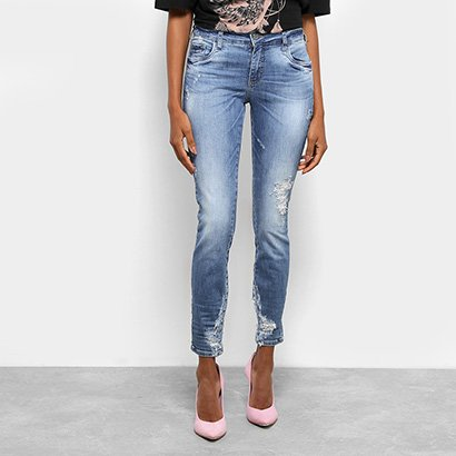 Calça Jeans Skinny Colcci Estonada Rasgos Cintura Média Feminina-Feminino