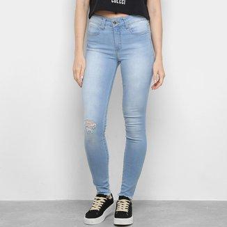 Calça Jeans Skinny Colcci Estonada Rasgos Cintura Média Feminina