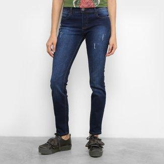 Calça Jeans Skinny Colcci Fatima Lavagem Escura Puídos Cintura Média Feminina