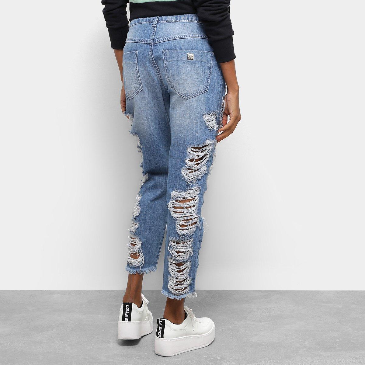 Calça Jeans Skinny Colcci Rasgos Cintura Média Feminina - Azul