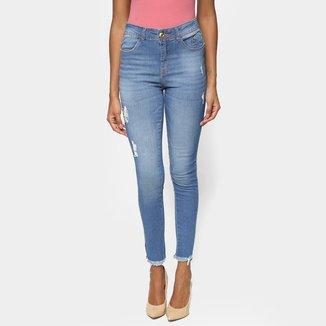Calça Jeans Skinny Desfiada Feminina