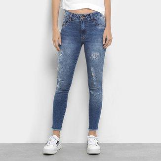 Calça Jeans Skinny Destroyed Biotipo Cintura Média Feminina