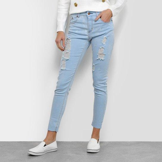 Calça Jeans Skinny Disparate Destroyed Respingos Feminina - Azul