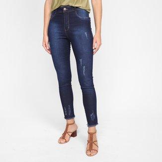 Calça Jeans Skinny Ecxo Barra Desfiada Cintura Alta Feminina