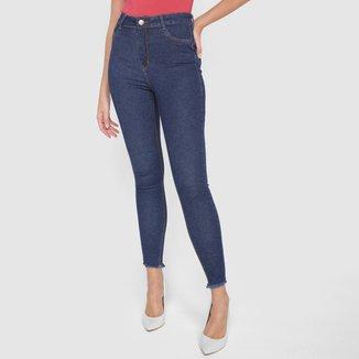 Calça Jeans Skinny Ecxo Barra Desfiada Feminina