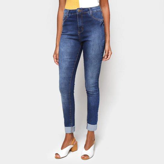 Calça Jeans Skinny Ecxo Barra Dobrada Cintura Média Feminina   - Marinho