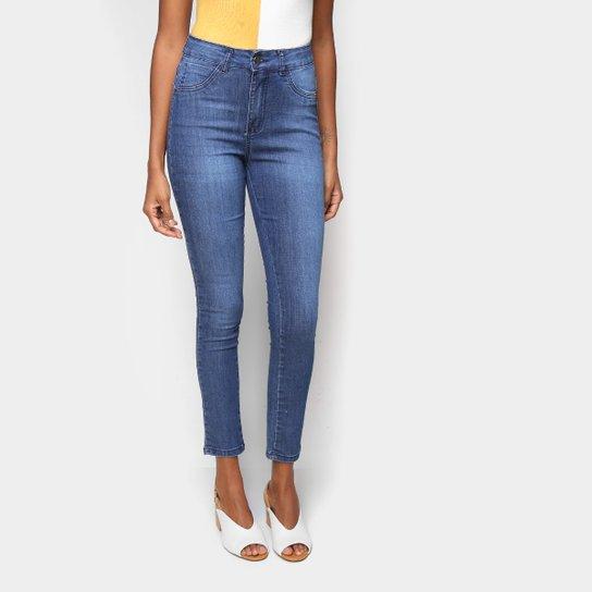 Calça Jeans Skinny Ecxo Básica Cintura Média Feminina   - Marinho