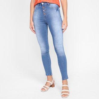 Calça Jeans Skinny Ecxo Botões Cintura Alta Feminina