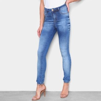 Calça Jeans Skinny Ecxo Cintura Alta Estonada Feminina
