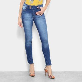 Calça Jeans Skinny Ecxo Estonada Cintura Média Feminina