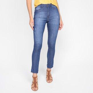 Calça Jeans Skinny Ecxo Marcação Big Cintura Alta Feminina