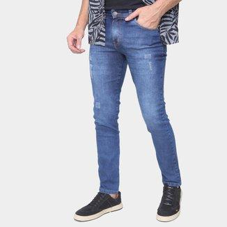 Calça Jeans Skinny Ecxo Puídos Cintura Média Masculina