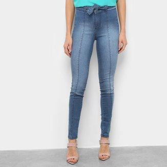 Calça Jeans Skinny Estonada Amarração Feminina