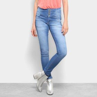Calça Jeans Skinny Estonada Cós Largo Cintura Média Feminina