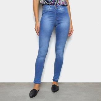 Calça Jeans Skinny Exco Clara Barra Desfeita Cintura Alta Feminina