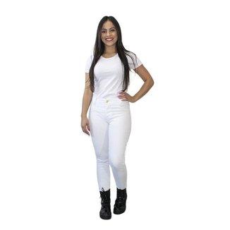 Calça Jeans Skinny Feminina Elastano Cós Alto Confortável