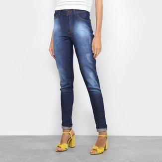 Calça Jeans Skinny Glamour com Puídos Feminina