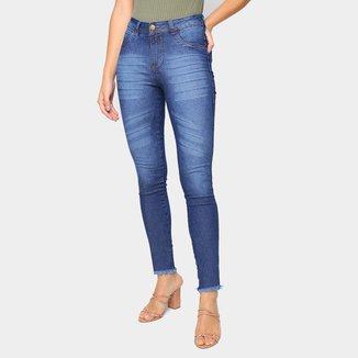 Calça Jeans Skinny Grifle Cintura Média Feminina