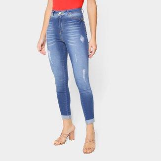 Calça Jeans Skinny Grifle Destroyed Feminina