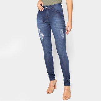 Calça Jeans Skinny Grifle Puídos Cintura Média Feminina